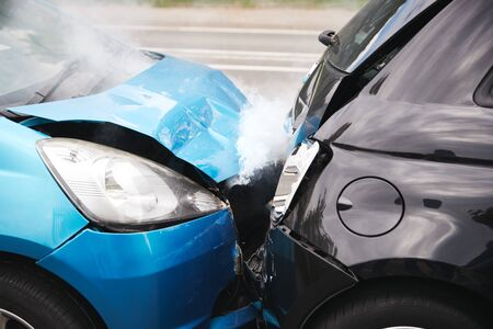 Close Up Of Two Cars Damaged In Road Traffic Accident Reklamní fotografie
