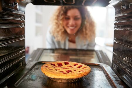 View Looking Out From Inside Oven As Woman Cooks Fruit Tart