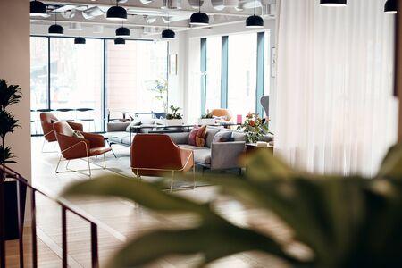 Empty Reception Area In Modern Open Plan Office Zdjęcie Seryjne