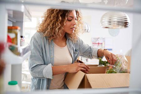 Blick aus dem Kühlschrank heraus, während eine Frau online Essenslieferungen nach Hause auspackt Standard-Bild