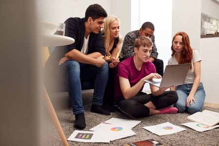 Group Of College Students In Lounge Of Shared House Studying Together Stock Photo