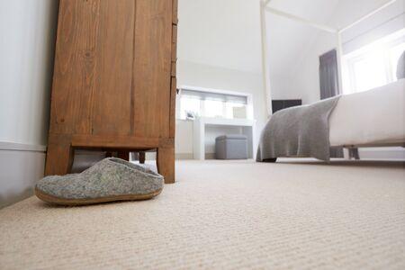 Empty Interior Of Stylish Master Bedroom With Storage Stock fotó