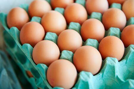 Display Of Fresh Eggs In Organic Farm Shop