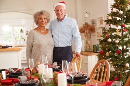 Retrato, de, pareja mayor, en casa, ajuste, y, decoración mesa, para, comida, en, día de navidad