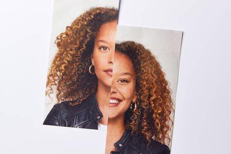 Concepto de salud mental con imagen de mujer dividida en dos mitades con expresiones felices y tristes