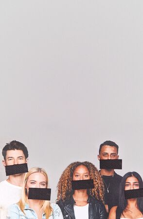 Freedom Of Speech Concept Showing Group Of Young People With Mouths Covered With Tape 스톡 콘텐츠