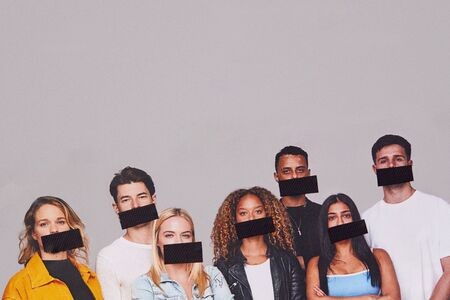 Freedom Of Speech Concept Showing Group Of Young People With Mouths Covered With Tape