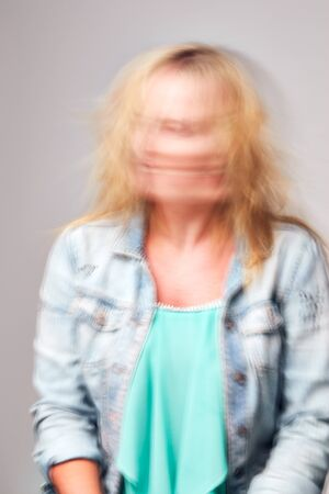Concept Shot Of Woman With Distorted Face Illustrating Mental Health Issues