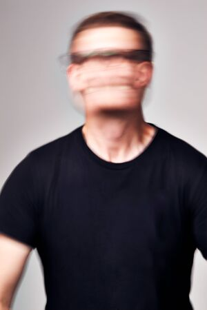 Concept Shot Of Man With Distorted Face Illustrating Mental Health Issues