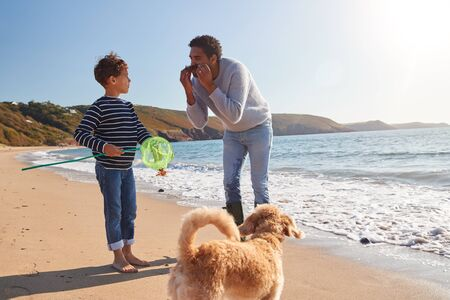 Father And Son Having Fun With Seaweed Walking Along Beach By Breaking Waves With Fishing Net