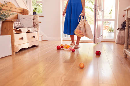 Close Up Of Woman Dropping Fresh Produce On Floor After Returning From Shopping Trip 免版税图像