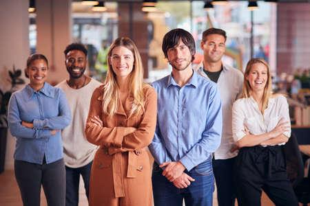 Portrait Of Multi-Cultural Business Team In Modern Multi-Cultural Office Foto de archivo