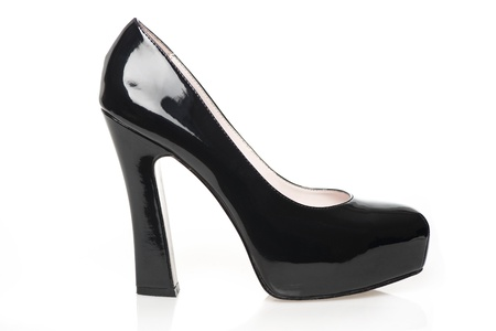 High Heels with inner platform sole, black patent leather Stock Photo - 16761473