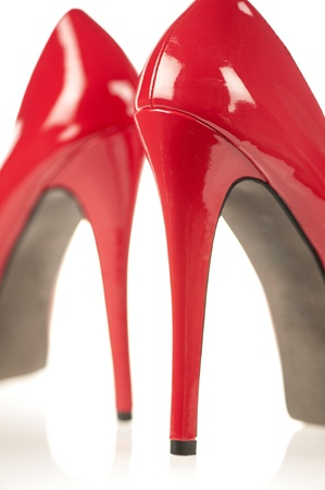Close-up of High Heels in red patent leather