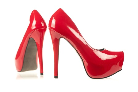 High Heels with inner platform sole, red patent leather