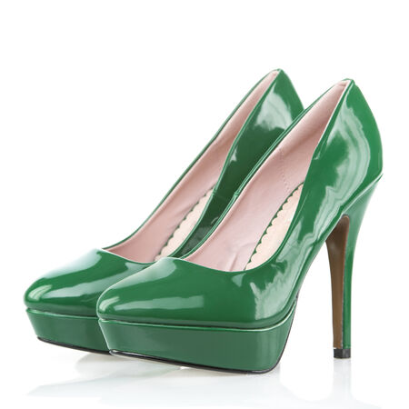 patent leather: High Heels shoes with platform sole, green patent leather