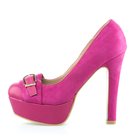 Classic High Heels shoe with small platform in pink velours   full grain leather