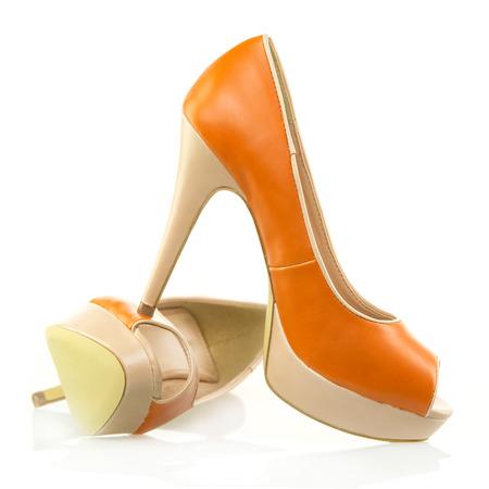 peep toe: Elegant High Heels shoes with peep-toe and platform in orange and beige color