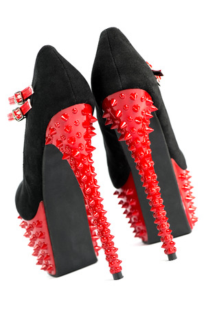extreme high heels shoes with platform sole, stiletto, and spikes in red and black