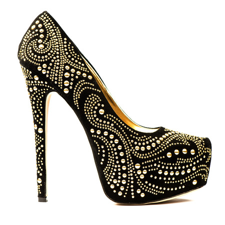 Fashionable High heels shoes in black and gold with inner platform an rhinestones