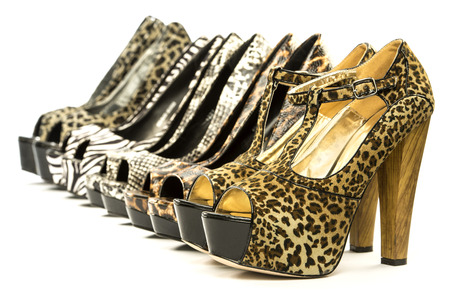 animal sex: A group of five high heels shoes in various animal print designs;