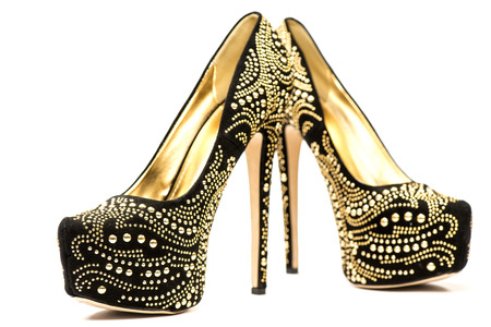 fetish wear: Fashionable High heels shoes in black and gold with inner platform an rhinestones