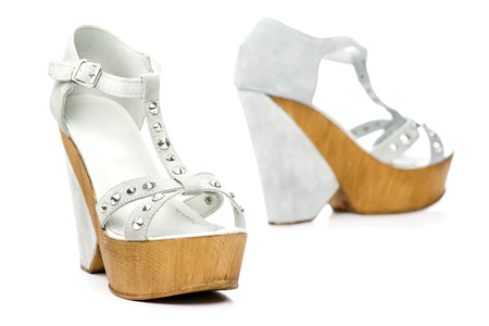 Fancy  platform high heels shoes with wooden sole and metal rivets