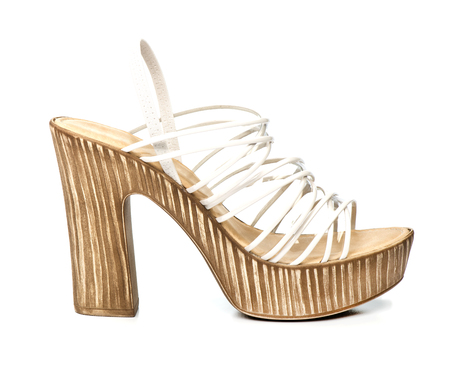 Fancy platform high heels with white and clear straps
