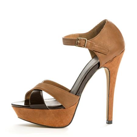 high heels shoe in brown suede Stock Photo