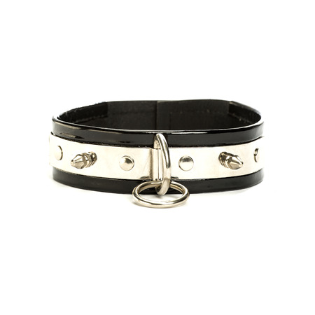 fetish wear: Extra wide leather collar with a rivets and a large metal ring - typical fetish wear.