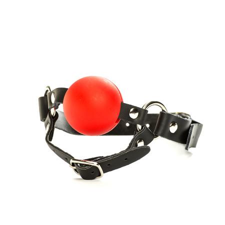 Ein roter Ball-Gag auf einem Lederhalsband, für Fetisch und bondare Rollenspiel.