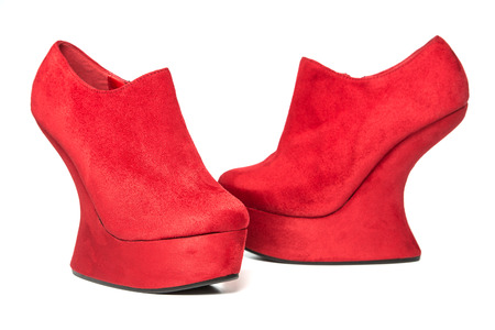 High heels shoes with platform in wedges style, red nubuck leather