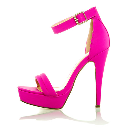 high heels shoe in pink, with platform sole and ankle strap, XXL image Stock Photo