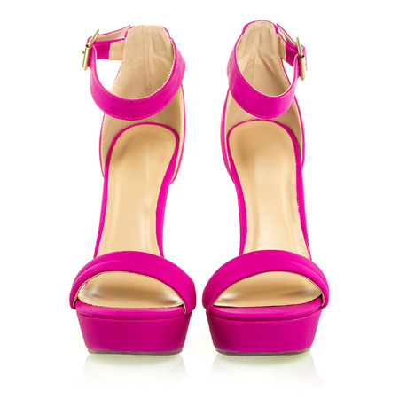 high heels shoe in pink with platform sole and ankle strap XXL image Stock Photo