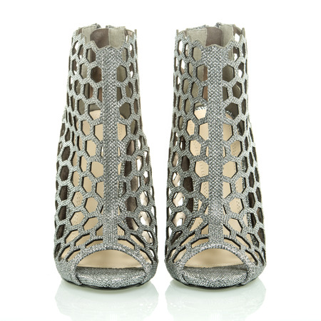 high heels ankle boots for spring and summer in silver mesh design XXL imagePLEASE NOTE: this is a noname product from a chinese outdoormarket and not a branded designer product.