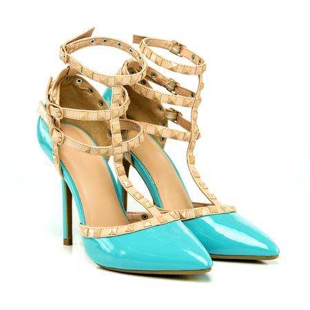 nudo integrale: scarpa tacco in lucido vernice blu con cinturino alla caviglia in colore nudo, immagine XXL