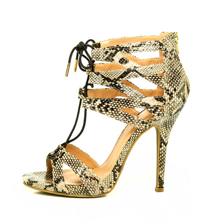 Fashionable strappy high heels shoes with small platform sole and ankle straps, animal print design,  XXL image Stock Photo