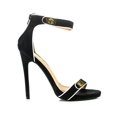 Fashionable High heels pumps in black velvet, golden buckle and  ankle strap.