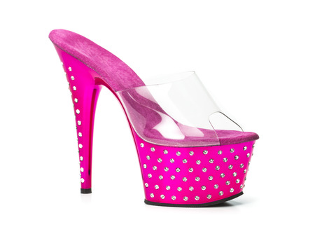 Fetish style high heels shoes in pink with platform sole, stiletto in clear plastic and rhinestone decoration.