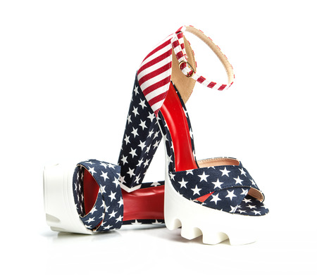 ankle strap: Top fashionable high heels shoes with platform and rugged white lug sole and an ankle-strap. Design of the US flag with stars and stripes.