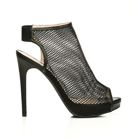 high heels ankle boots in black sheer mesh design, XXL imagePLEASE NOTE: this is a no-name product from a chinese outdoor-market and not a branded designer product. Stock Photo