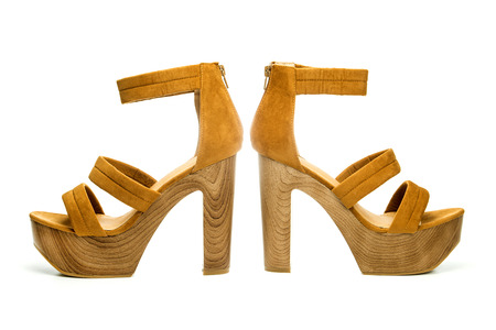 high heels shoes in brown suede and with platform sole in wood design;