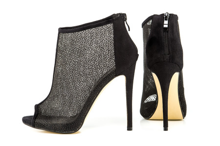 high heels ankle boots for spring and summer, in black and metallic sheer mesh design.PLEASE NOTE: this is a no-name product from a chinese outdoor-market and not a branded designer product.