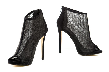 high heels ankle boots for spring and summer, in black and metallic sheer mesh design.  PLEASE NOTE: this is a no-name product from a chinese outdoor-market and not a branded designer product. Stock Photo