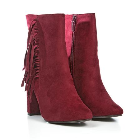 high heels shoes (booties) in marsalla red, fringe design.