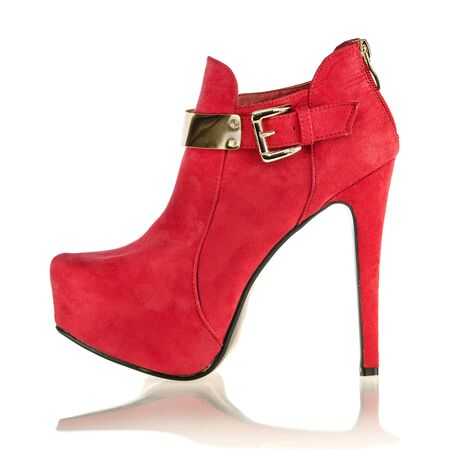 fashionable stiletto high heels ankle boots in red suede with golden buckle and inner platform sole;