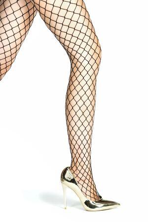 Schöne Weibliche Beine In Den Lila Dehnbaren Schuhen Der