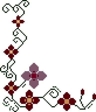 Pixel Art Floral Stock Vector - 19581646