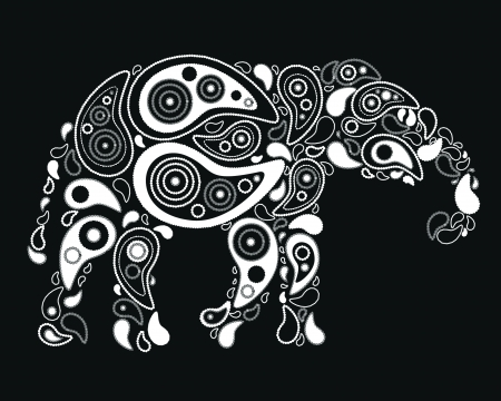 Pattern with elephant and paisley Vector