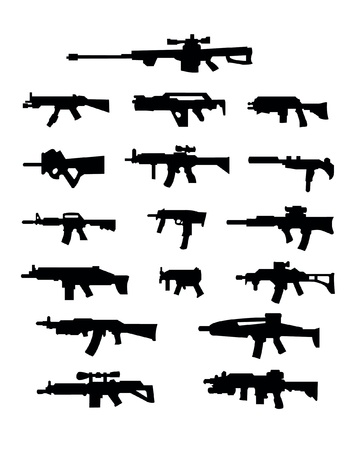 silhouettes of weapons with gun